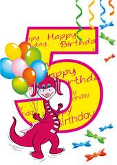 buon compleanno bambina numero 5 con draghetta
