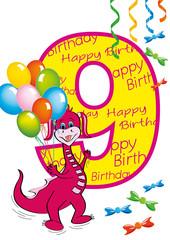 buon compleanno bambina numero 9 con draghetta