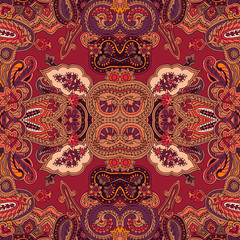 Seamless abstract geometric kaleidoscope paisley pattern. Traditional oriental ethnic ornament, on maroon background. Textile design.