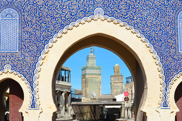 Bab Boujloud, or Known as the Blue Gate of Fes, in Morocco