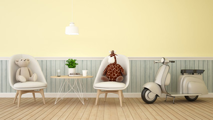bear and giraffe doll in cafe or kid room on pastel color- 3D Rendering
