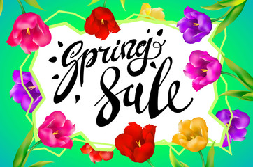 Spring Sale Banner, colotful tulips flowers green background with lettering. Template for greeting post card. Vector illustration EPS10.