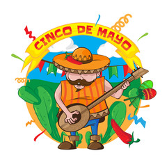 Happy Cinco De Mayo greeting card with an mexican man in sombrero playing guitar and maracas. On the background of cacti, flags and confetti. Vector illustration isolated on white background.