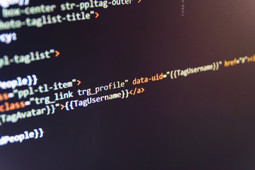 CSS, JavaScript and HTML usage. Abstract screen of software. Website programming code. Mobile app building. Innovative startup project. SEO concepts for better SERP. Source code close-up.