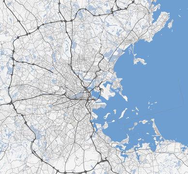 Black and white map of Boston city. Massachusetts Roads