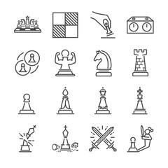 Chess line icon set