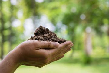 Farmer hands holding the soil.