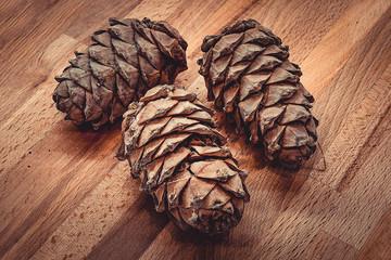 Сосновые большие шишки на деревянной кухонной доске. Плоды хвойного дерева
