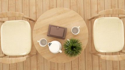 top view dining area in coffee shop or restaurant - 3D Rendering