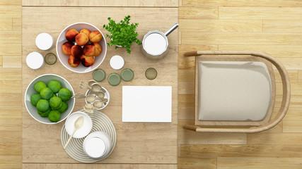 top view dining room or pantry minimal design - 3D Rendering