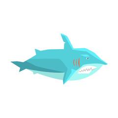 Great White Shark Marine Fish Living In Warm Sea Waters Cartoon Character Vector Illustrations