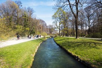 View of Schwabinger Bach at the Englischer Garten in Munich