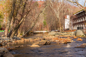 View of the Chattahoochee river and part of the hotel on its shore, Helen, USA.