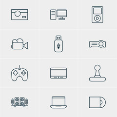 Vector Illustration Of 12 Gadget Icons. Editable Pack Of Monitor, Joypad, Usb Card And Other Elements.