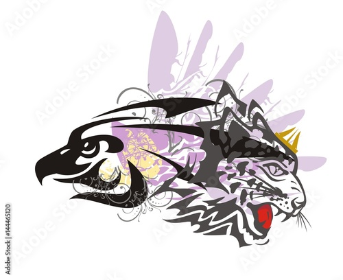 f61024a3a Eagle and leopard symbol. Tribal imaginary animal formed by the eagle head  and the aggressive