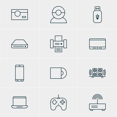 Vector Illustration Of 12 Accessory Icons. Editable Pack Of Loudspeaker, Video Chat, Modem And Other Elements.