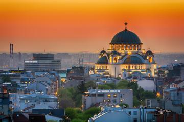 Belgrade panorama with temple of Saint Sava