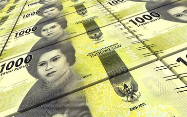 Indonesian rupiah bills stacks background. 3D illustration