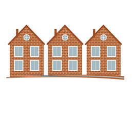Brick  houses vector illustration, home image with horizon line. Touristic and real estate creative emblem, cottages front view.