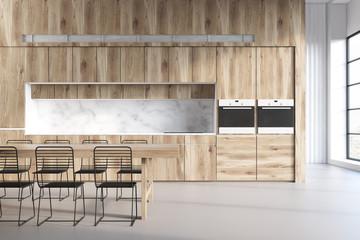 Wooden kitchen, marble walls