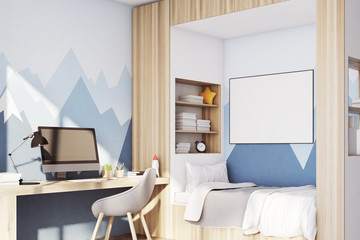Kids room with pc, mountain