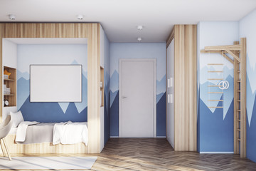 Kids room with poster, mountain
