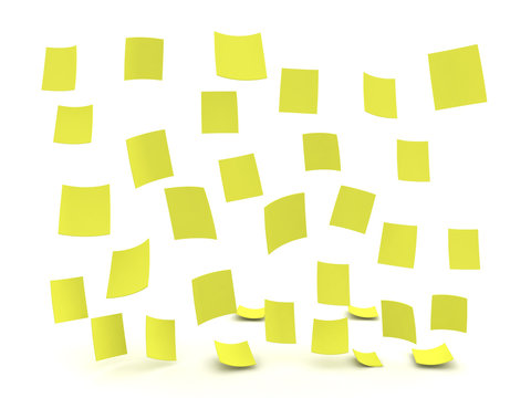 3D illustration of rain composed out of yellow post it sticky notes