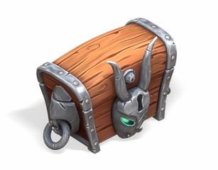 3d rendering of a magical chest on a white background