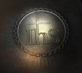 IHS Kreuz Ornament Silber