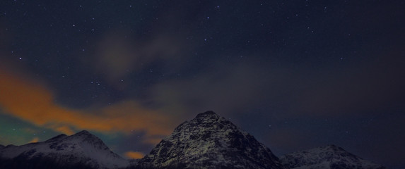Amazing multicolored night sky over Lofoten landscape, Norway, Scandinavia..