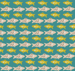Seamless pattern with fishes rows