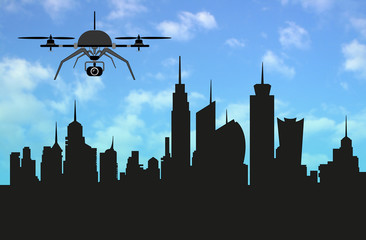 Drone with Skyline metropolis of the ideal city, the shape of the urban landscape