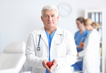 Male doctor with stethoscope holding heart, on blurred background
