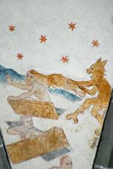 Detailszene des Jüngsten Gerichts. Deckengemälde in der romanischen Dorfkirche Lieberhausen, Deutschland