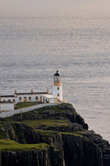Lighthouse at Neist Point in Scotland During the Day