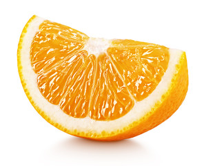 Ripe slice of orange citrus fruit isolated on white background with clipping path