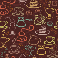 Векторный бесшовный узор с кофейными элементами