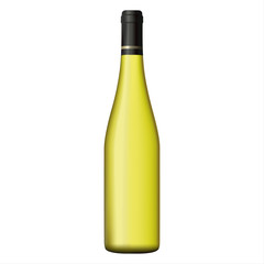 White wine bottle isolated on white background, realistic vector illustration