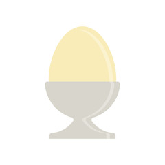 Flat icon boiled egg in holder isolated on white background. Vector illustration.