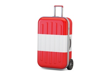 Austria travel concept, suitcase with Austrian flag. 3D rendering