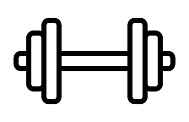 Dumbbell or dumbells weight training equipment line art vector icon for exercise apps and websites