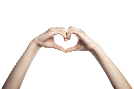 gesture with hand finger, finger make a heart(love).