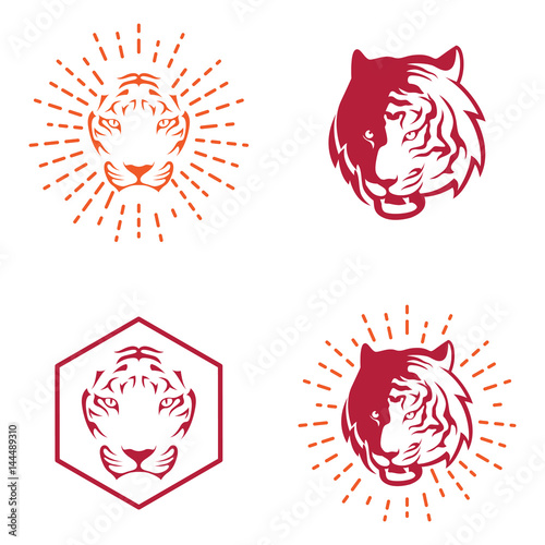 Tiger Simple Logo Template In Vintage Retro Style Stock Image And
