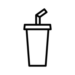 Soda beverage or soft drink with straw line art vector icon for food apps and websites