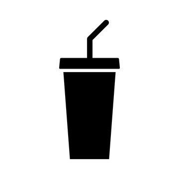 Soda beverage or soft drink with straw flat vector icon for food apps and websites