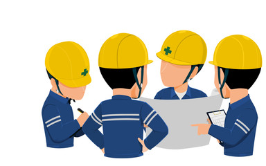 Workers are meeting together on transparent background