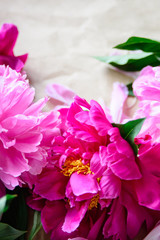 View from above of close-up pink and red cut peonies on kraft paper background