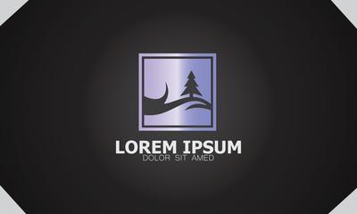 pine tree nature hill icon logo