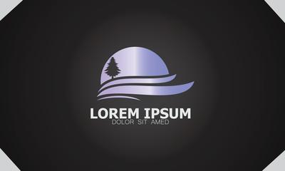 pine tree sunset logo