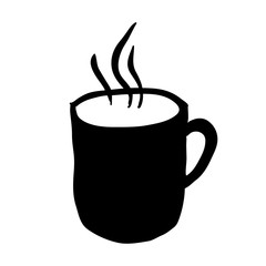 black silhouette hand drawn with hot coffee mug vector illustration